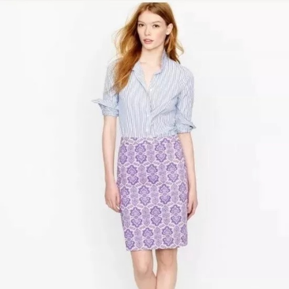 J. Crew No. 2 Pencil Skirt Purple White Pr…